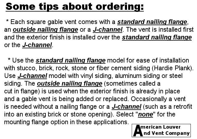 Gable Vent tips for ordering